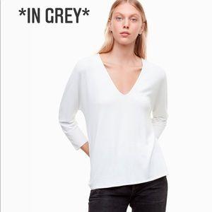 NWT ARITZIA WILFRED Aneta T-Shirt Heather White
